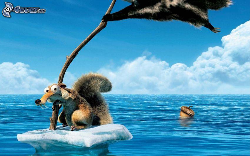 wiewiórka z filmu Epoka lodowcowa, kra, flaga, woda, żołędź