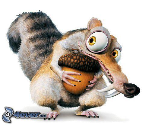 wiewiórka z filmu Epoka lodowcowa, orzech, oczy