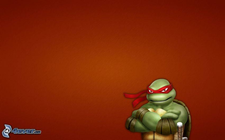 żółwie ninja, czerwone tło