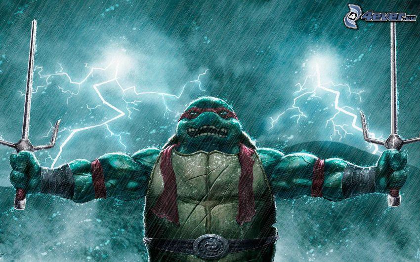 żółwie ninja, pioruny, deszcz