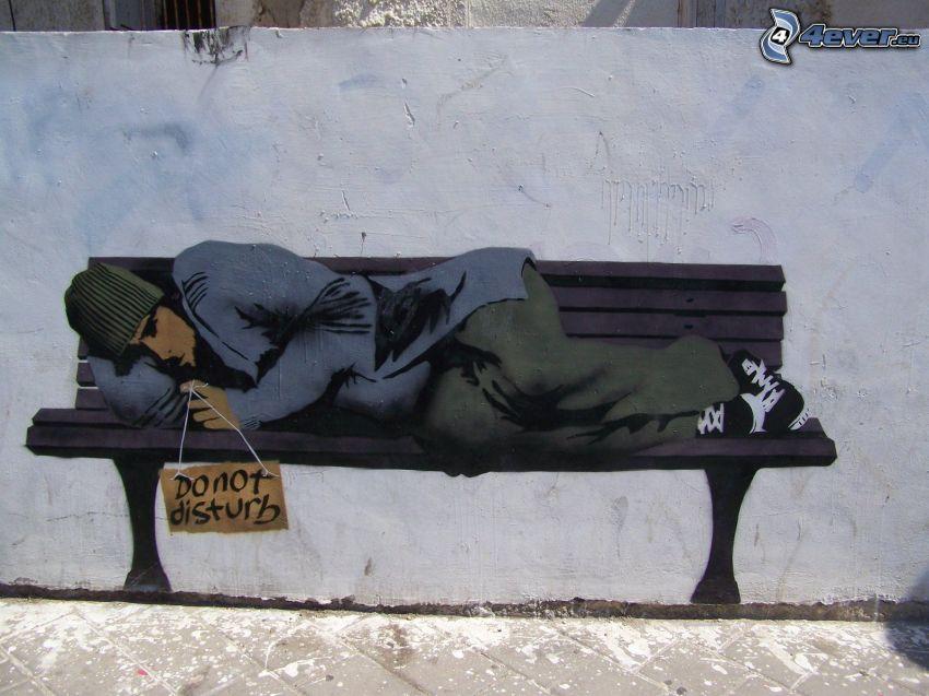 graffiti, bezdomny