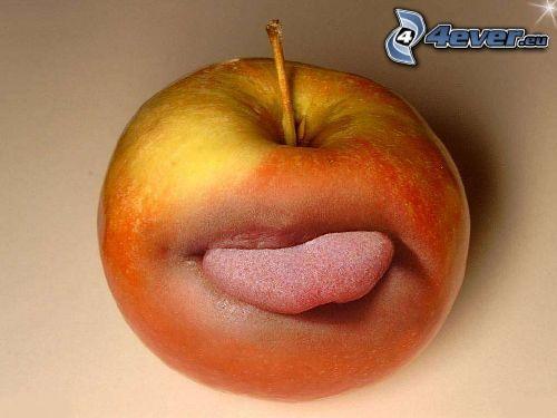 jabłko, usta