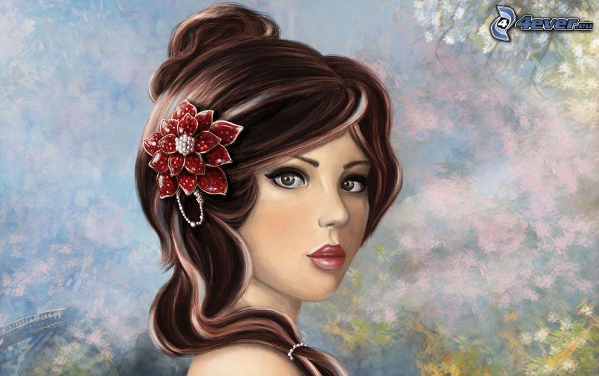 kobieta narysowana