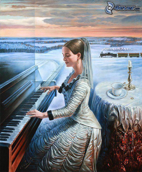 kobieta za fortepianem, gra na fortepianie, tory kolejowe, pociąg