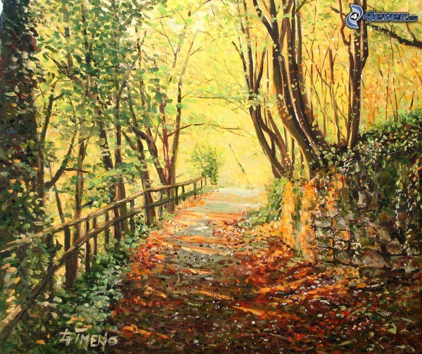 kolorowy jesienny las, chodnik, opadnięte liście, malowidło