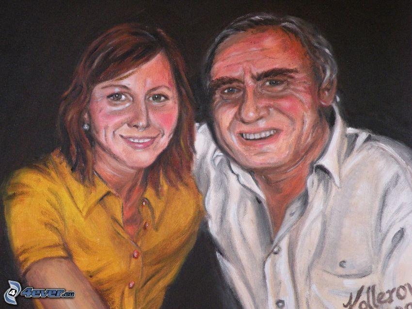 mężczyzna i kobieta, obraz olejny, portret