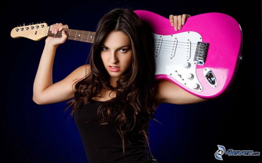 brunetka, elektryczna gitara