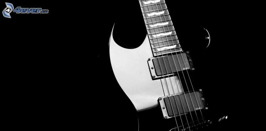 elektryczna gitara, czarno-białe zdjęcie