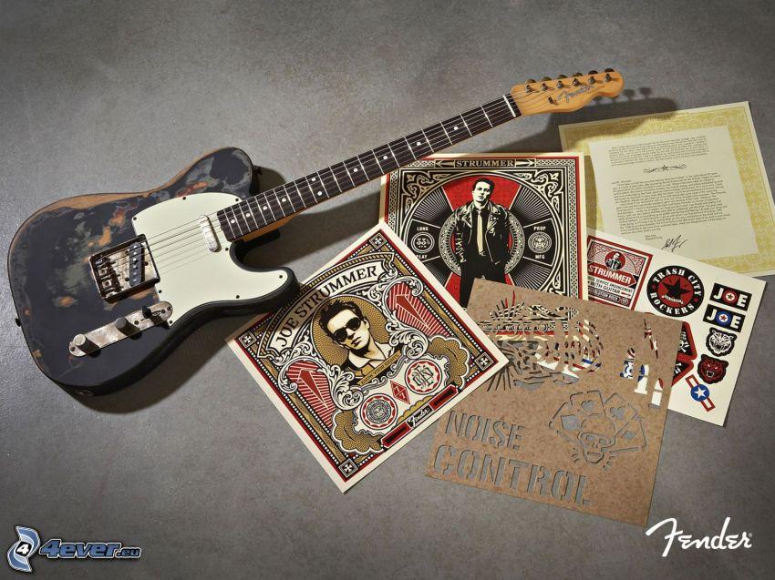 elektryczna gitara, plakat