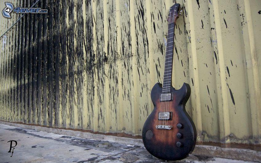 elektryczna gitara, ściana
