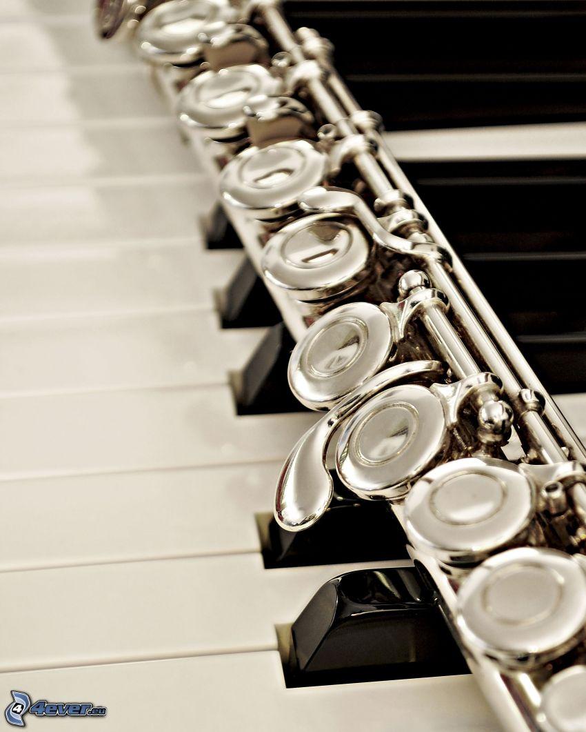 flet, fortepian