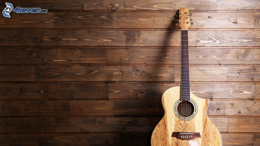 gitara, drewniana ściana