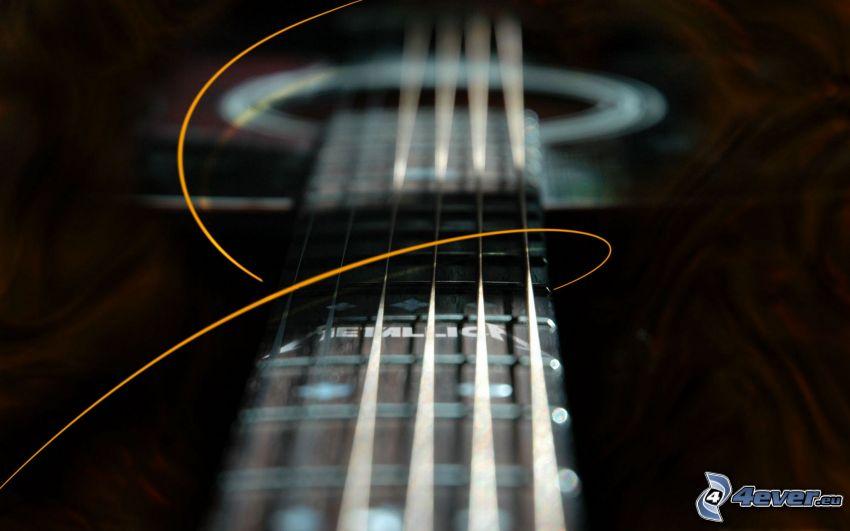 gitara, struny, abstrakcyjna linia, Metallica
