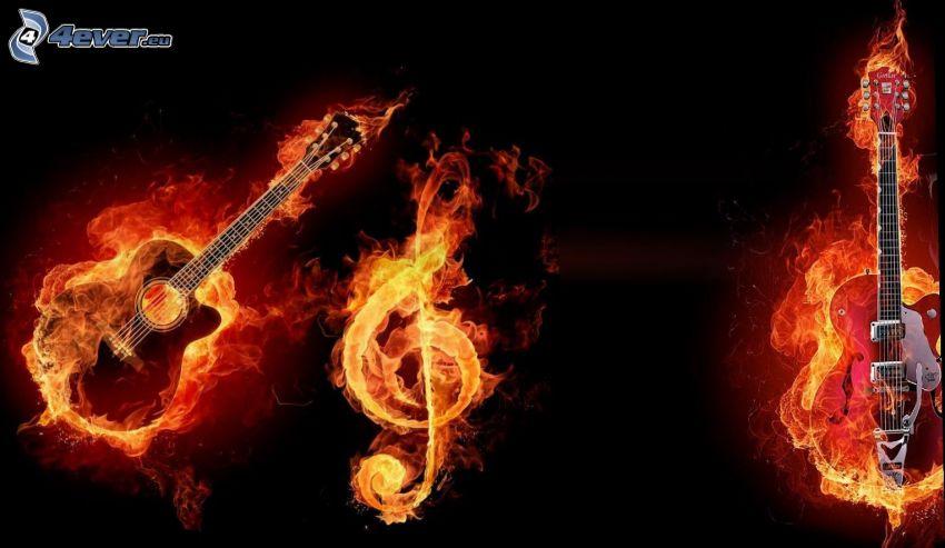 gitara w płomieniach, klucz wiolinowy, ogień