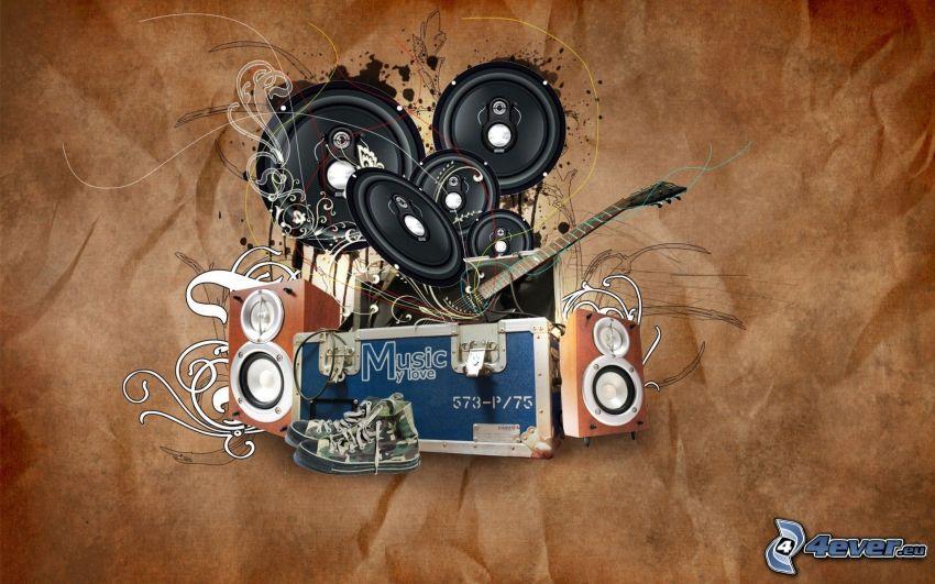 głośniki, gitara, Converse, sztuka cyfrowa