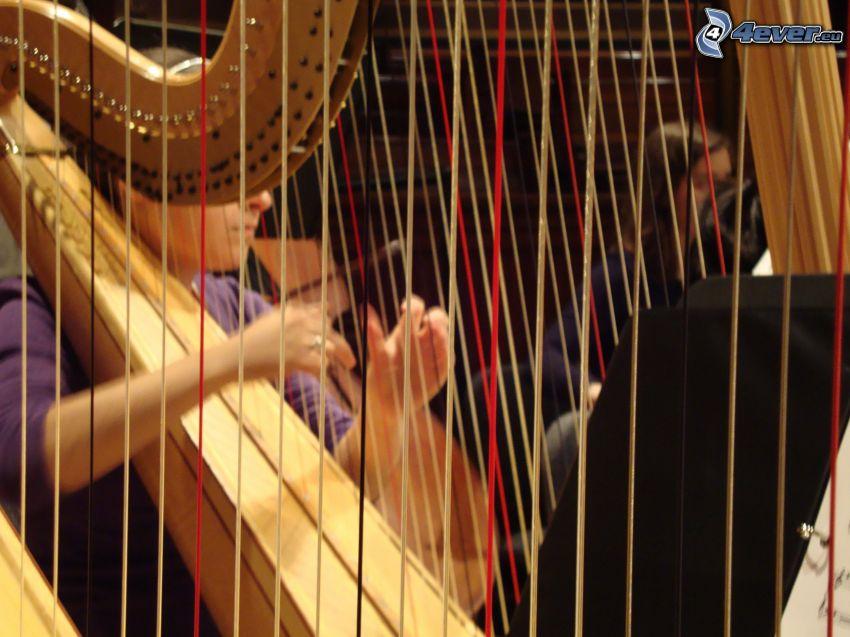 harfa, gra na harfie