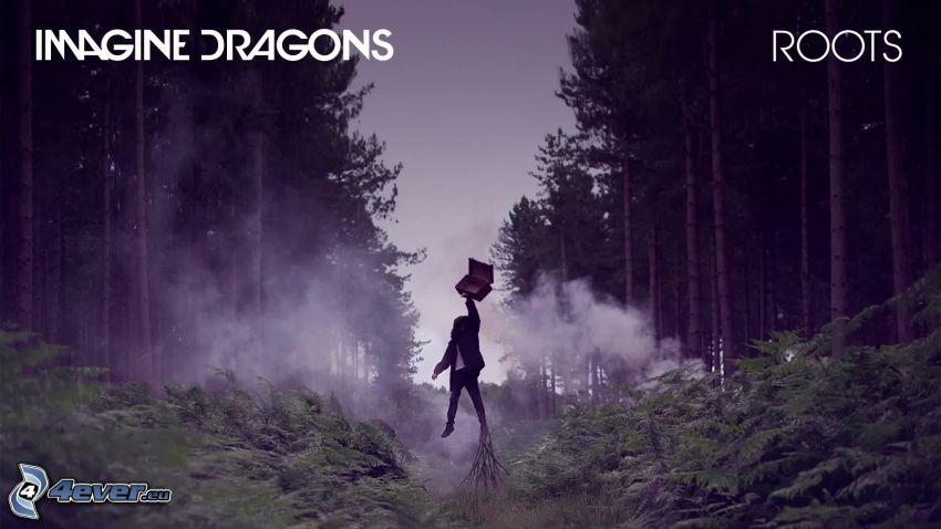 Imagine Dragons, mężczyzna, wyskok, las
