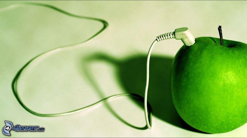 jabłko, słuchawki