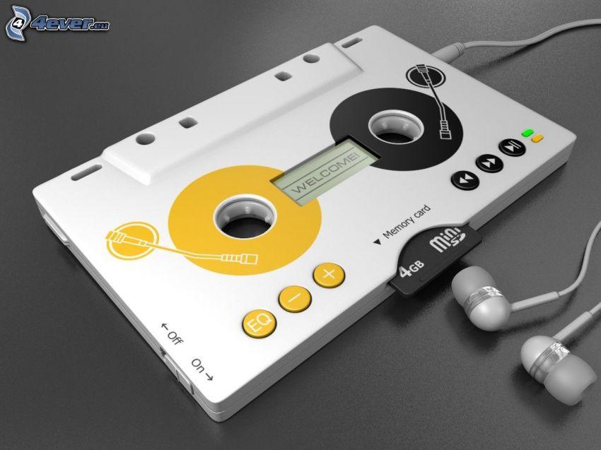 kaseta, słuchawki, mp3 odtwarzacz