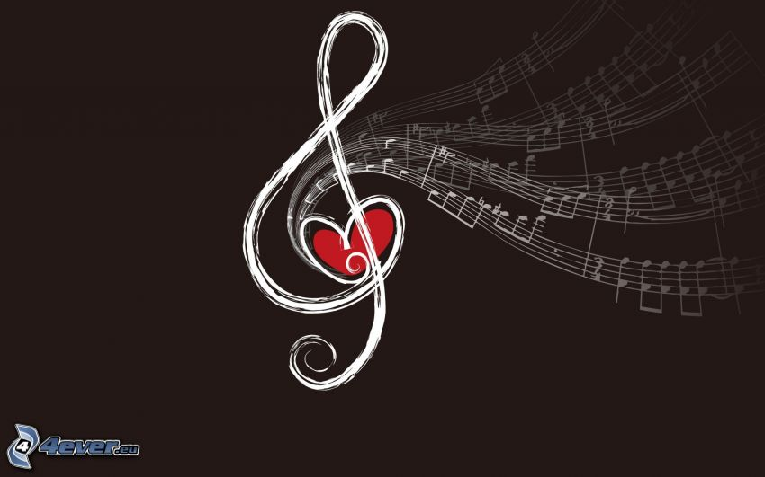 klucz wiolinowy, nuty, czerwone serduszko, rysowane
