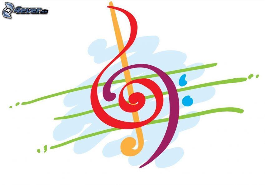 klucz wiolinowy, rysowane