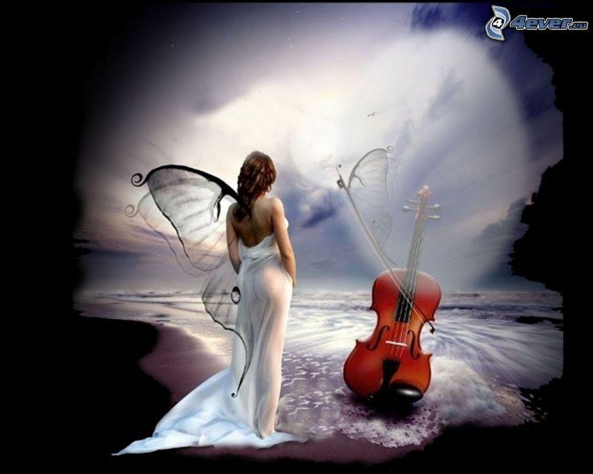 kobieta ze skrzydłami, skrzypce, plaża, morze