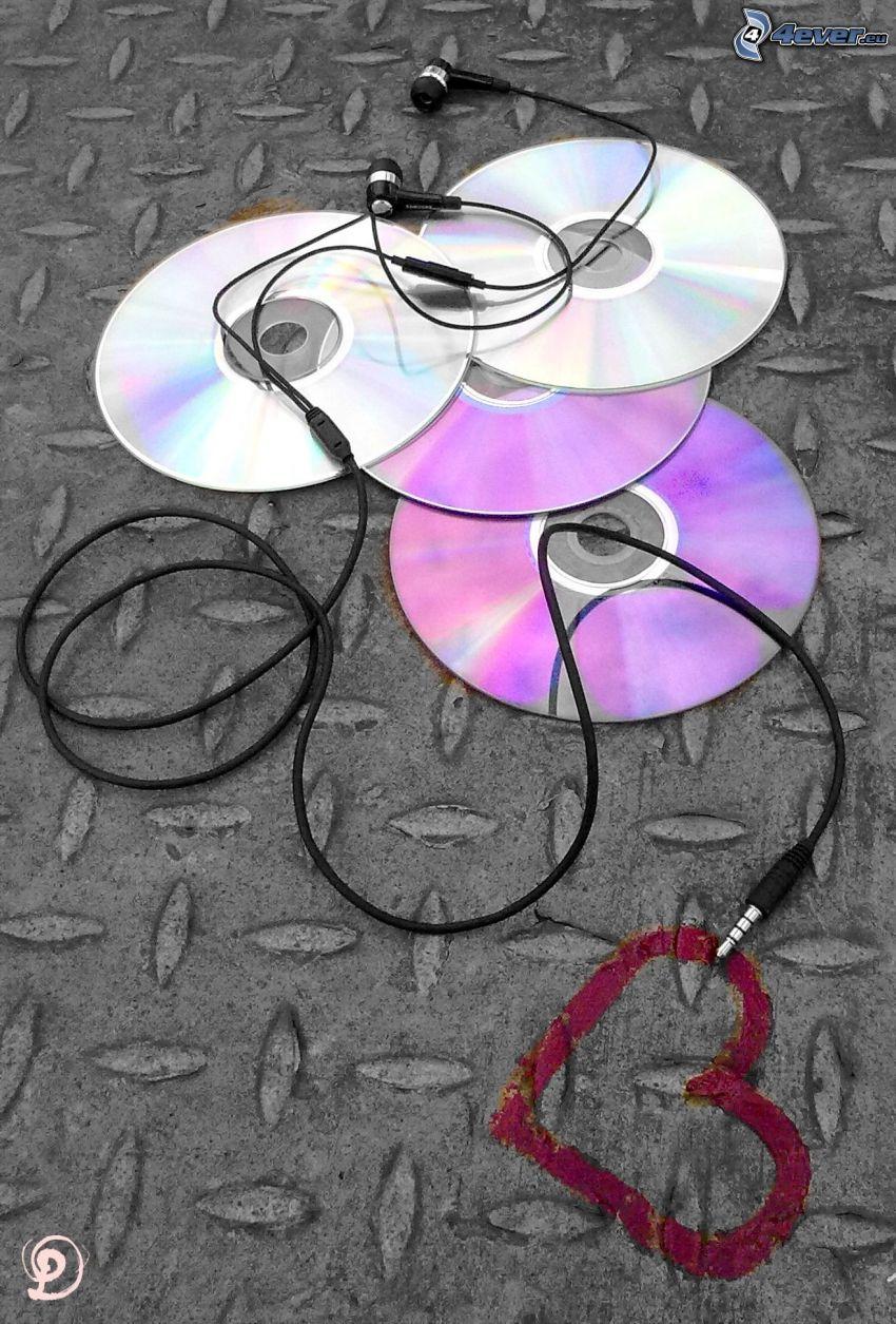 kolaż muzyczny, CD, słuchawki