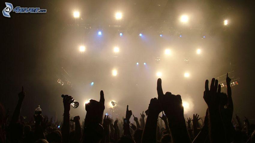 koncert, kibice, tłum, ręce, światła