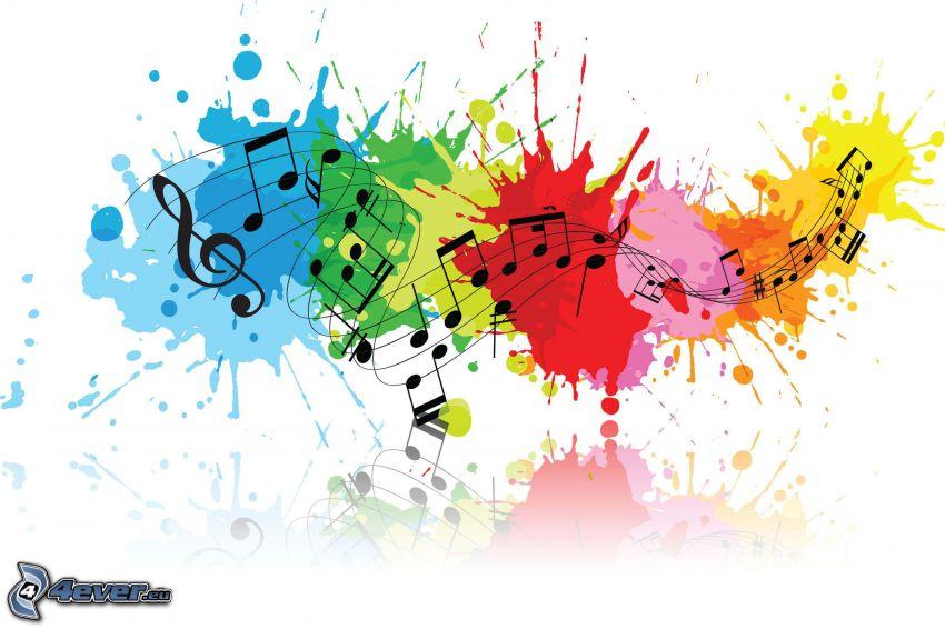music, nuty, klucz wiolinowy, kolorowe kleksy
