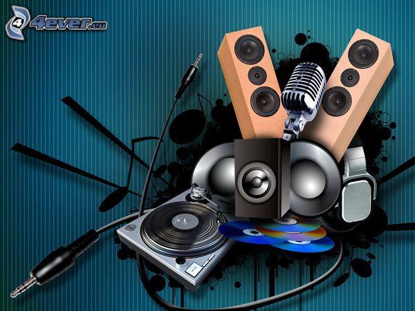 muzyka, abstrakcyjne, kolaż, głośnik, mikrofon