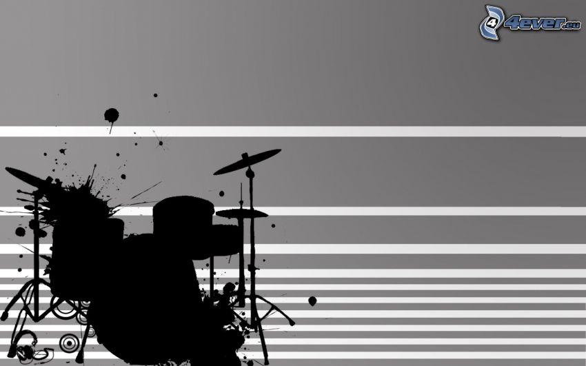 perkusja, sylwetka, kleksy, białe linie