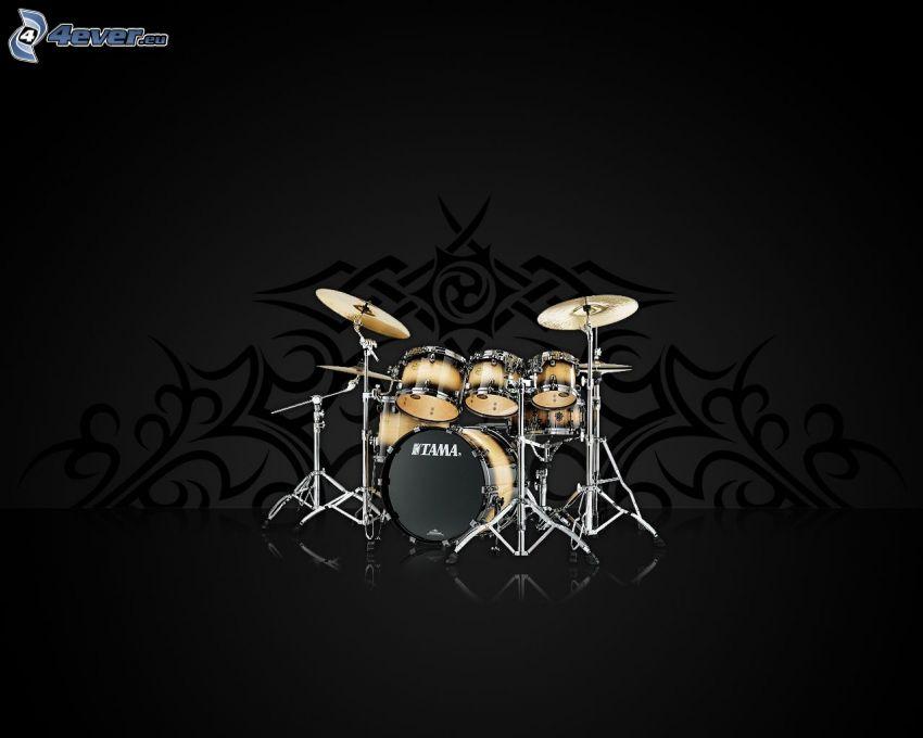 perkusja, szare tło
