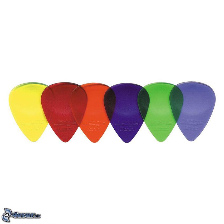 piórko do gitary, kolory