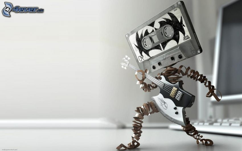 robot, kaseta, gitara