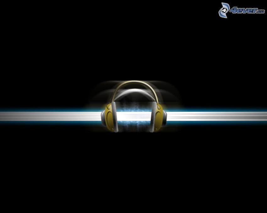słuchawki, biała linia