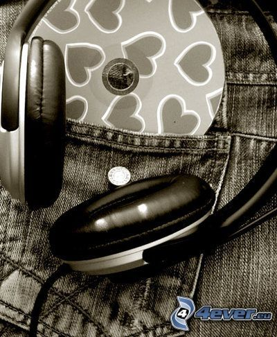 słuchawki, CD, kieszeń, muzyka, dżinsy, spodnie