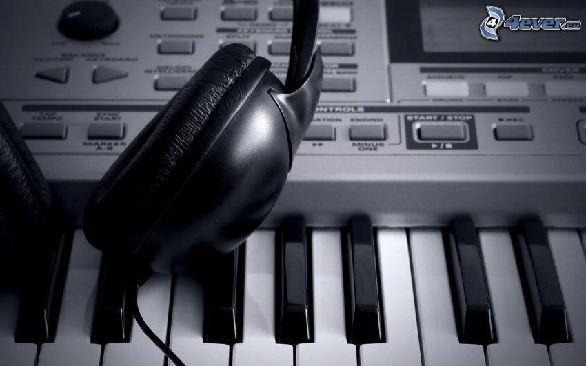 słuchawki, fortepian
