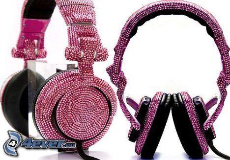 słuchawki, różowy