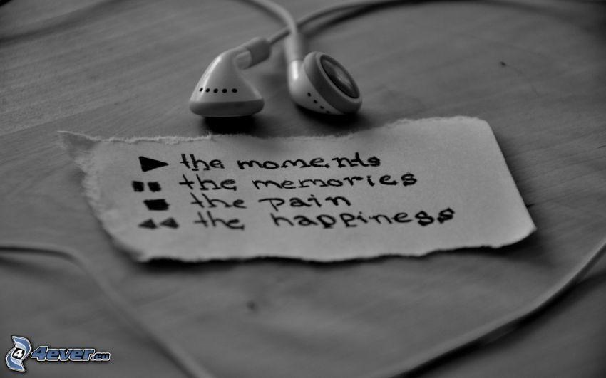 słuchawki, wspomnienia, ból, szczęście