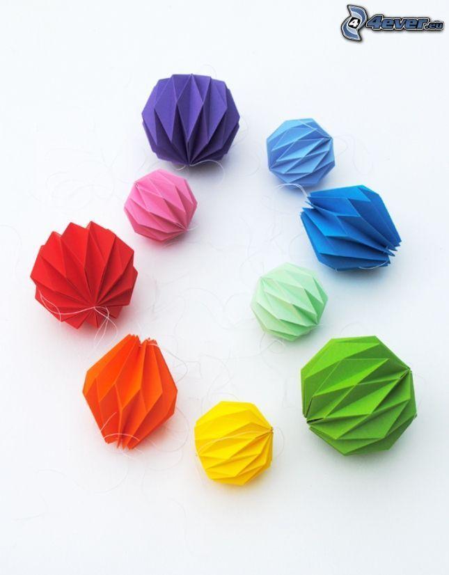 origami, kolorowe kulki