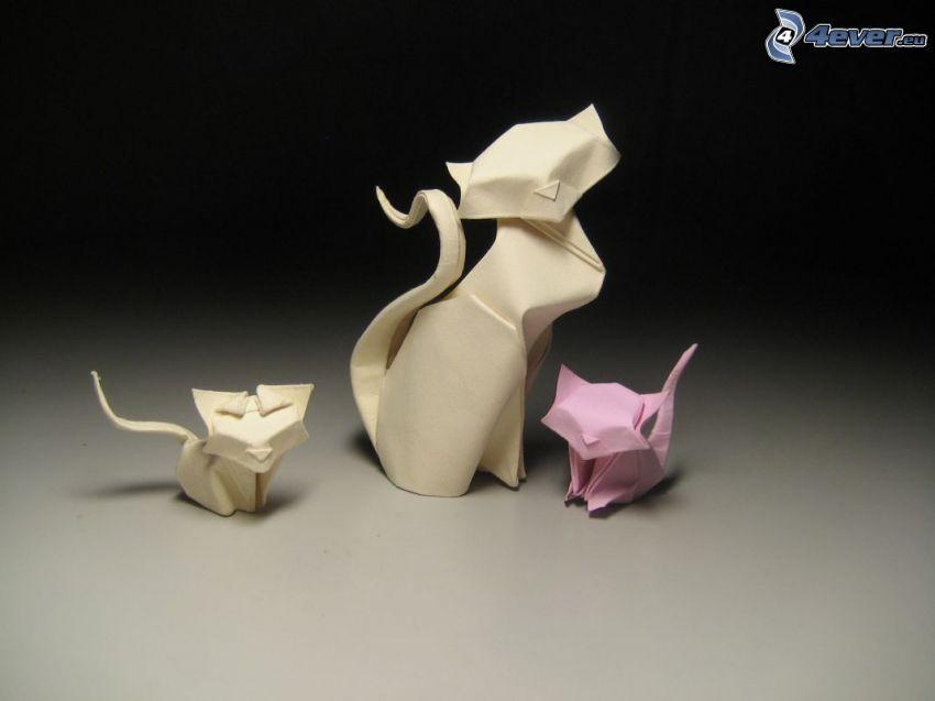 origami, koty