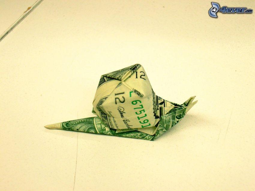 origami, ślimak, dolar