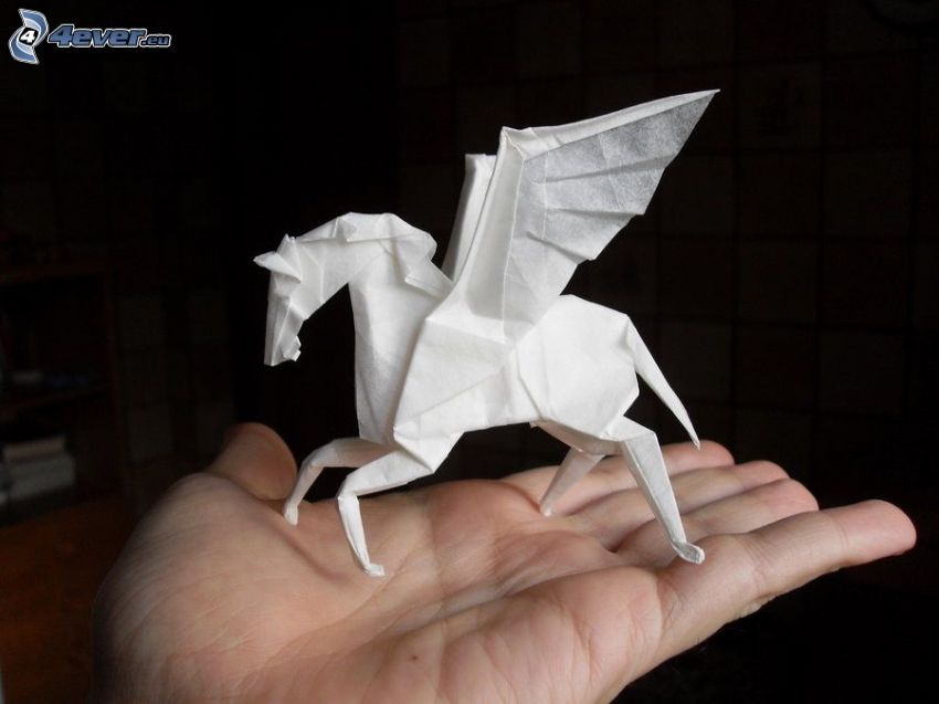 Pegaz, origami, skrzydła, ręka