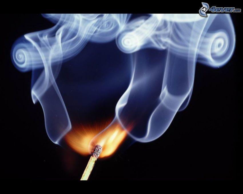 płomień, dym, zapałka
