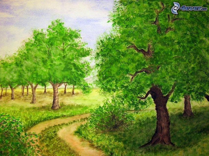rysowane drzewa, polna droga, malowidło