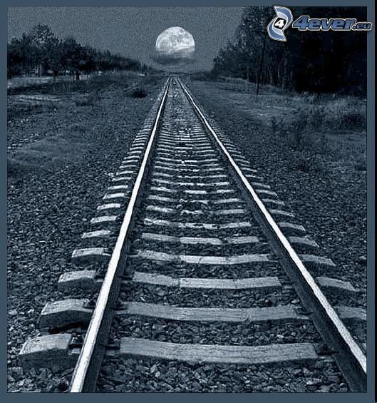 tory kolejowe, kolej żelazna, księżyc, pełnia