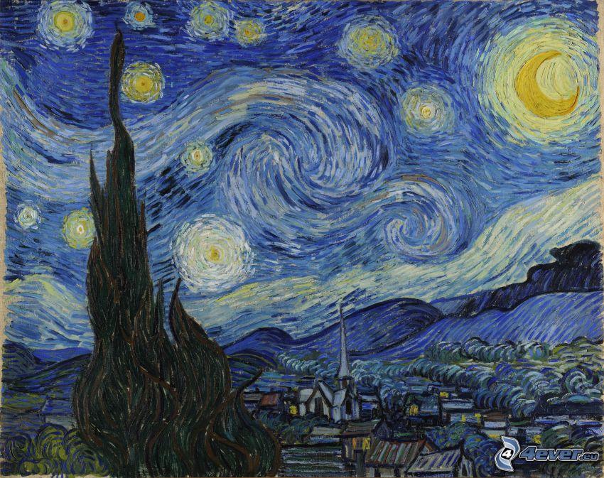 Vincent Van Gogh - Gwiaździsta noc, obraz