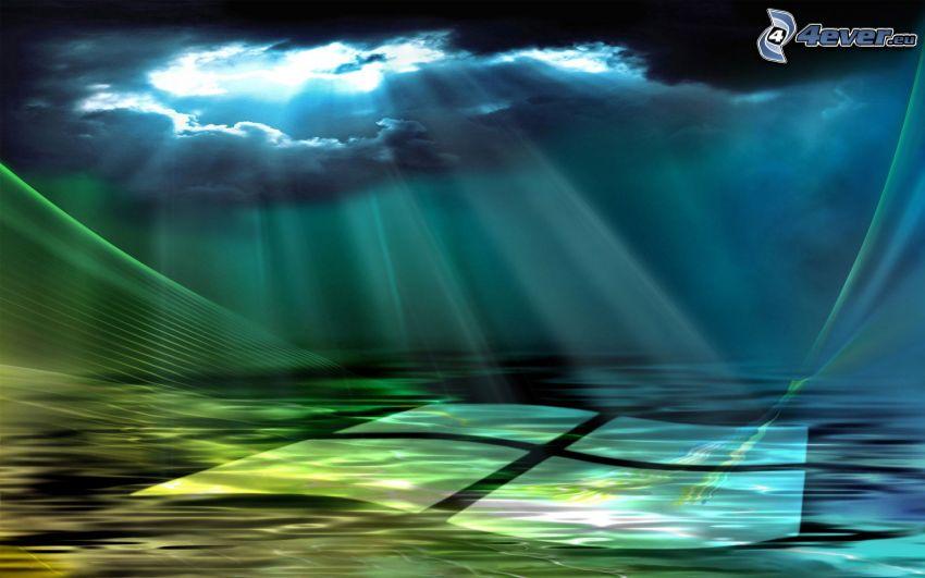 Windows Vista, morze, promienie słoneczne