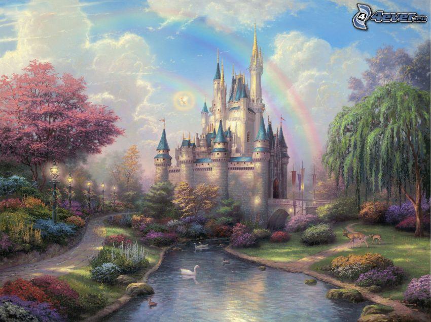 zamek, tęcza, strumyk, łabędzie, park, bajkowa kraina