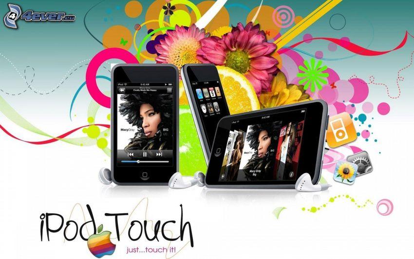 iPod, mp3 odtwarzacz, Apple, różowe kwiaty, abstrakcyjne